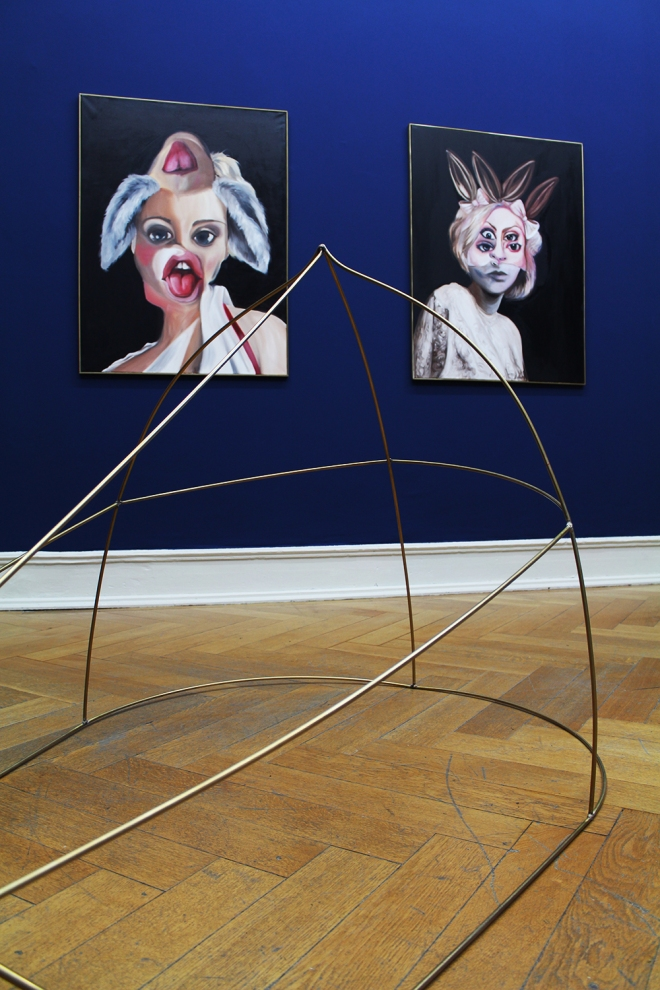 Charlie Stein Villa Merkel Ibrass sculpture two paintings